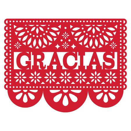 Mexican Papel Picado vector design - Gracias pattern thank you card