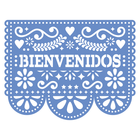 Papel Picado Bienvenidos vector design - Mexican Welcome paper decoration with pattern and text
