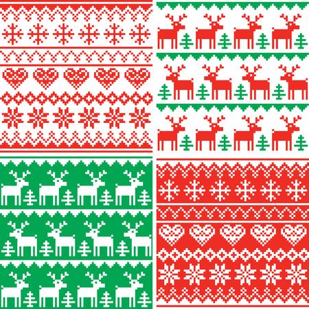 クリスマスベクター patttern セット、冬のシームレスなデザインコレクション、醜いクリスマスジャンパースタイル