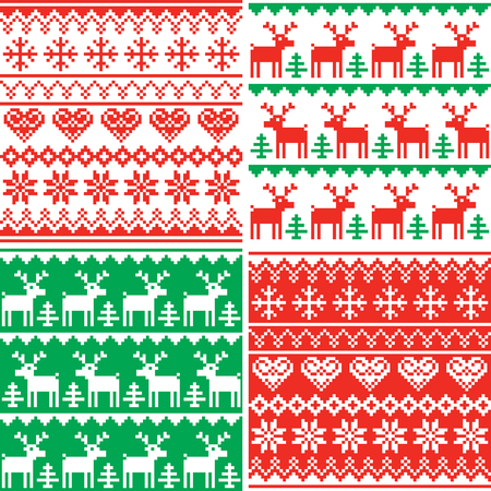 Christmas vector patttern set, Winter seamless design collection, ugly Xmas jumper style