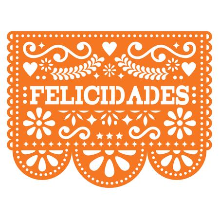Felicidades Papel Picado vector design - Mexican paper decoration with pattern