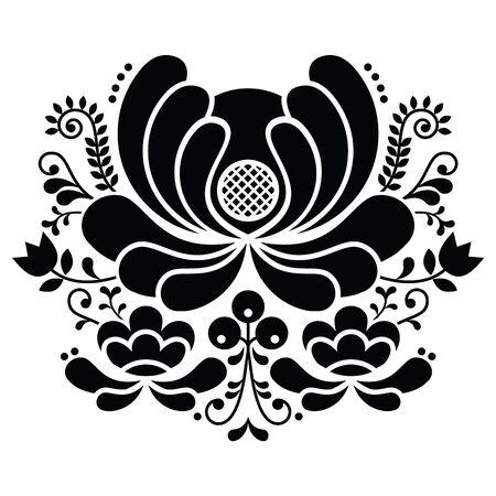 노르웨이 민속 예술 흑백 무늬 - Rosemaling 스타일의 자수 스톡 콘텐츠 - 89422397