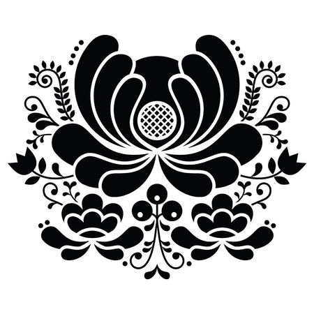 Norwegian folk art black and white pattern - Rosemaling style embroidery Illusztráció