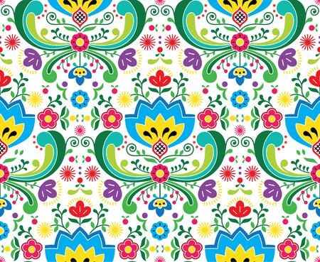 Noors volkskunst vector naadloos patroon - Rosemaling-stijlborduurwerkontwerp