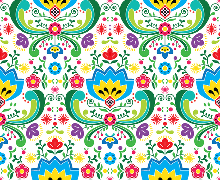 Norwegian folk art vector seamless pattern - Rosemaling style embroidery design