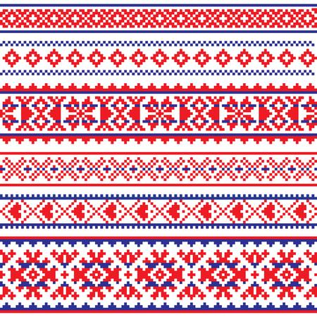 Nahtloses Muster des Sami-Vektors, Volkskunst Lapplands, traditionelles strickendes und Stickereidesign