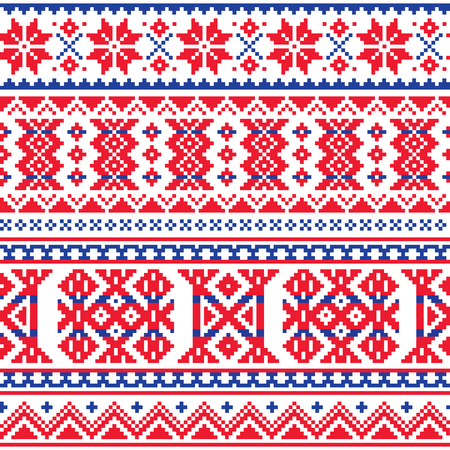 Lapland, Sami mensen vector naadloos patroon, Scandinavische, Noordse volkskunst in rood en blauw
