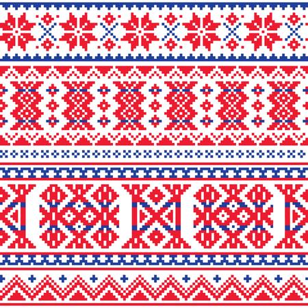 Lapponia, Sami vector seamless pattern, scandinavo, nordico folk art in rosso e blu Archivio Fotografico - 90166843