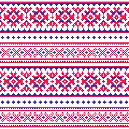Modello di arte popolare senza soluzione di continuità, design tradizionale Lapponia, Sami vector seamless sfondo scandinavo, carta da parati nordica Archivio Fotografico - 90178158
