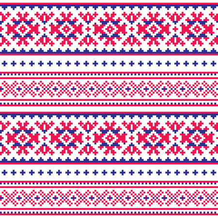 Seamless folk art pattern, Lapland traditional design, Sami vector seamless background Scandinavian, Nordic wallpaper