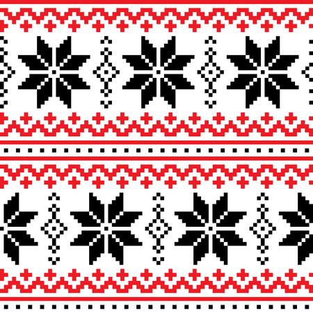 Christmas, winter vector seamless pattern with snowflakes, cross-stitch repetitive design, Scandinavian Ilustração