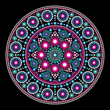 絵画のスタイル、アボリジニの民芸、オーストラリアの伝統的なエスニック デザイン曼荼羅ベクトル ドット
