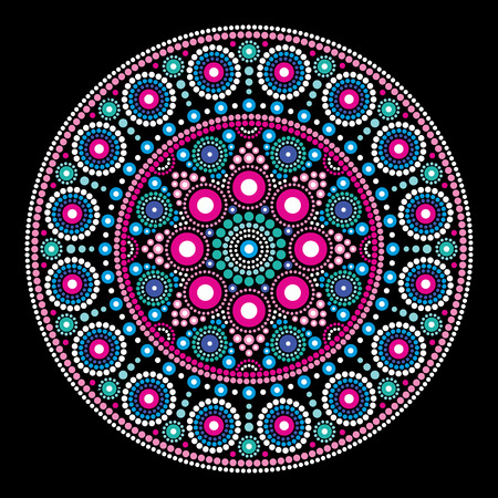 Mandala vector dot painting style, Aboriginal folk art, Australian traditional ethnic design.