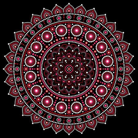 マンダラ ベクター デザイン、アボリジニのドット絵スタイル、オーストラリアの民俗芸術自由奔放に生きるスタイル