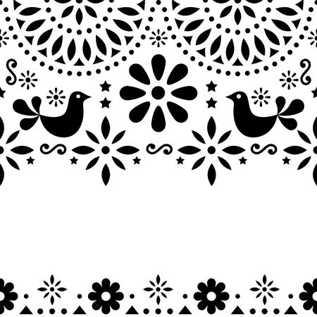 Mexican folk art vector greeting card, retro wedding or party invitation with modern twist Иллюстрация
