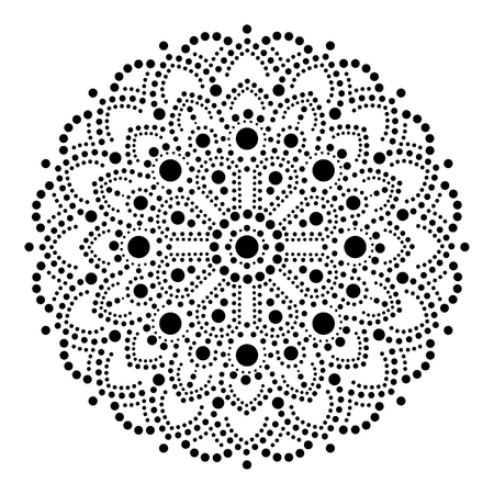Aboriginal dot painting mandala, Australian ethnic design, gypsy vector dots pattern ethnic style in black Ilustração