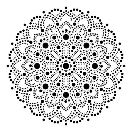 Aboriginal dot painting mandala, Australian ethnic design, gypsy vector dots pattern ethnic style in black Stock Illustratie