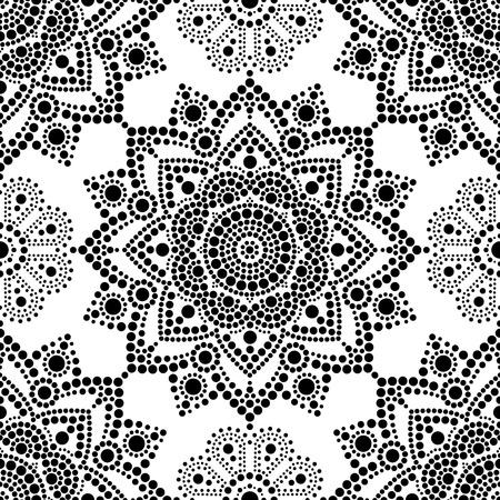 Aboriginal dot painting seamless pattern, Mandala bohemian vector dot art, retro folk design inspired by traditional art from Australia