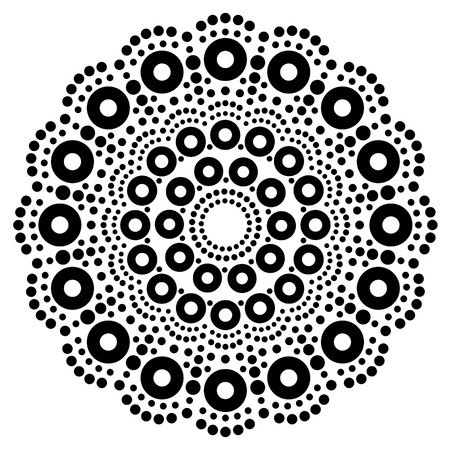Mandala bohemian vector dot painting, Aboriginal dot art, retro folk design inspired by traditional art from Australia  イラスト・ベクター素材