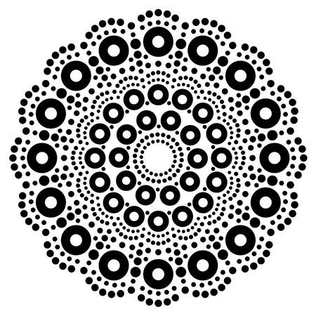 Mandala bohemian vector dot painting, Aboriginal dot art, retro folk design inspired by traditional art from Australia Illusztráció