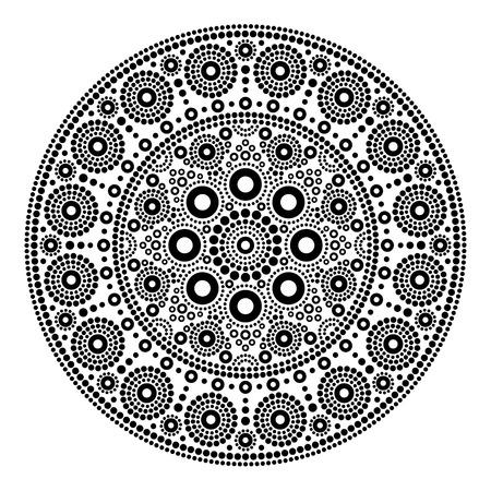 Mandala vector dot painting style, Aboriginal folk art, Australian black traditional ethnic design