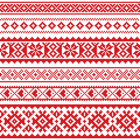 Sami vector seamless pattern, Lapland folk art, traditional knitting and embroidery design Çizim