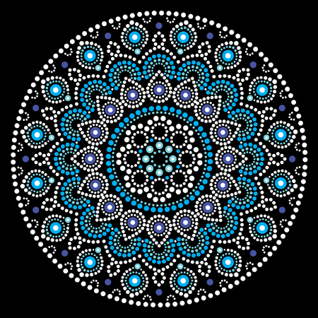 Mandala vector art, Australian dot painting white and blue design, Aboriginal folk art bohemian style Illustration
