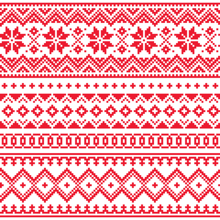 Lapónia vetor padrão de inverno sem emenda, projeto de arte folclórica Sami, tricô tradicional e bordado Ilustración de vector