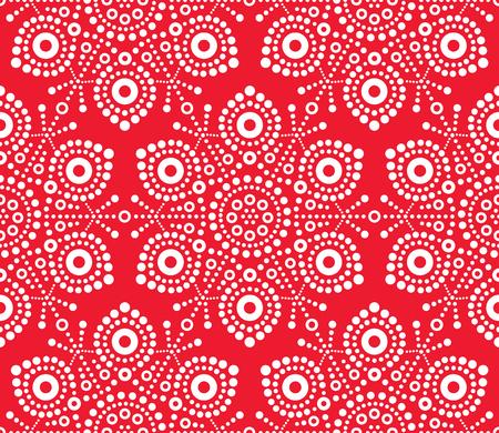 Patrón sin fisuras de copo de nieve blanca de Navidad, diseño de arte vectorial, arte popular australiano, estilo aborigen Ilustración de vector