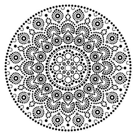 Mandala vector art, Australian dot painting black and white design, Aboriginal folk art bohemian style