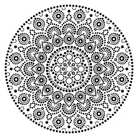 Mandala vector art, Australian dot painting black and white design, Aboriginal folk art bohemian style