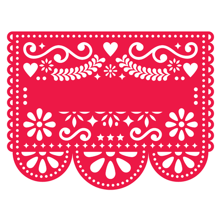 Mexican Papel Picado vector template design - traditional red vector pattern with blank text