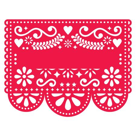 Mexicaans Papel Picado vectormalplaatjeontwerp - traditioneel rood vectorpatroon met lege teksten