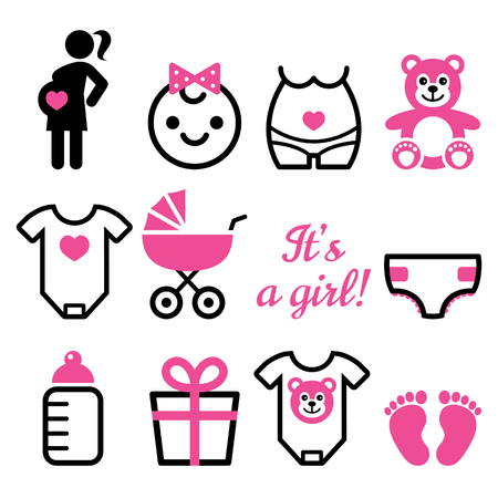 Baby girl shower vector icons set, pregnant womant with girl, newborn baby design