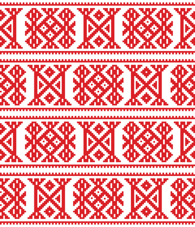 Sami seamless vector design, Lapland cross-stitch vector pattern, folk art Scandinavian, Nordic style