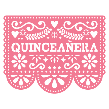 Quinceanera Papel Picado vector design - Mexican folk art birthday party design, paper decoration with floral pattern Illustration