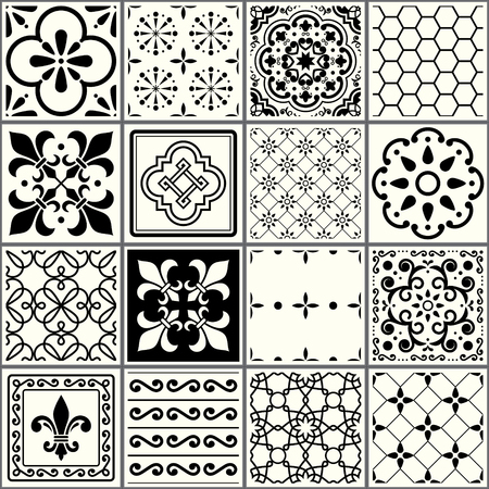Portuguese tiles pattern  Lisbon seamless black and white tiles Azulejos vintage geometric ceramic design Banco de Imagens - 91963021