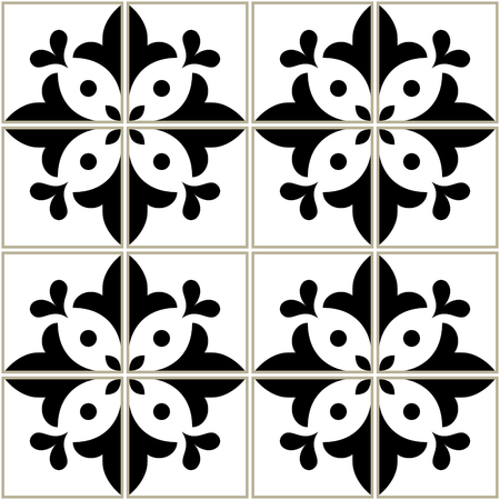 Azulejos tiles pattern - Portuguese floral design, seamless vector black and white background, vintage mosaics set