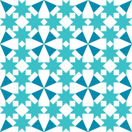 Moroccan tiles design, geometric seamless turquoise tile pattern Illustration