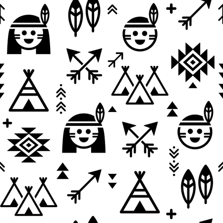 Indian vector seamless pattern for boys and girls, native American background with teepee and arrows