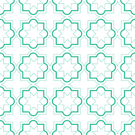 Moroccan geometric tiles seamless pattern, vector tiles design, green and white background Illustration