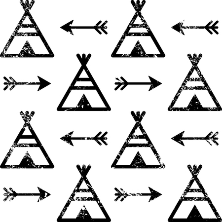 Teepee and arrows seamless vector pattern. Aztec style. Indian repetitive design, Native American wallpaper.