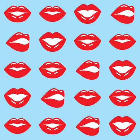 Red lips seamless pattern, Valentine's Day background, love vector design.