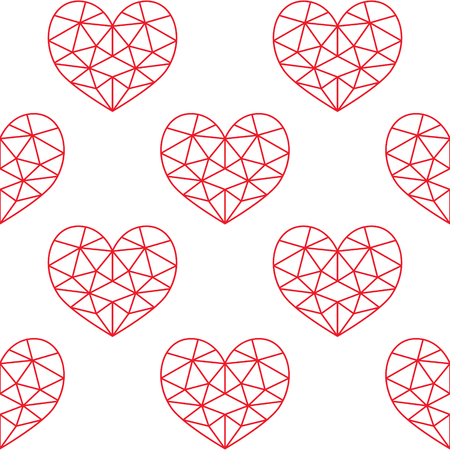 Geometric heart vector seamless pattern, Valentines Day red hearts on white background