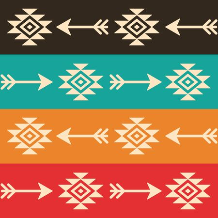 Aztec seamless vector pattern with arrows, retro Indian navajo fabric design, Tribal art
