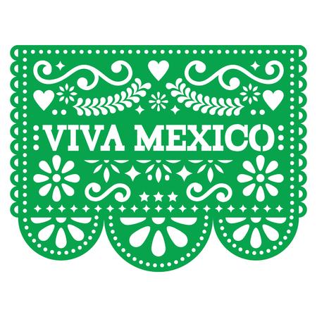 Viva Mexico papel picado vector design - Décoration en papier mexicain avec motif et texte