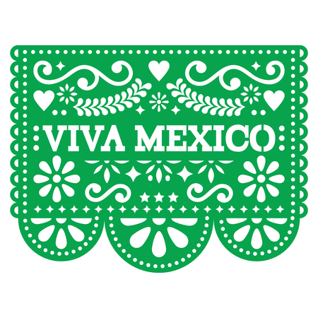 Viva Mexico papel picado vector design - Mexican paper decoration with pattern and text
