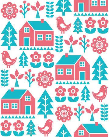 Nahtloses Muster der finnisch inspirierten Volkskunst - skandinavisches, nordisches Vektordesign im Türkis und im Rot
