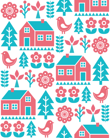 Finnish inspired folk art seamless pattern - Scandinavian, Nordic vector design in turquoise and red