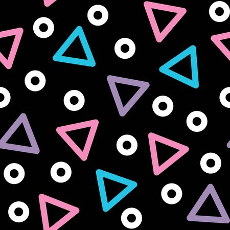 Triangle vector seamless pattern - 80s, 90s style background with geometric shapes Illustration